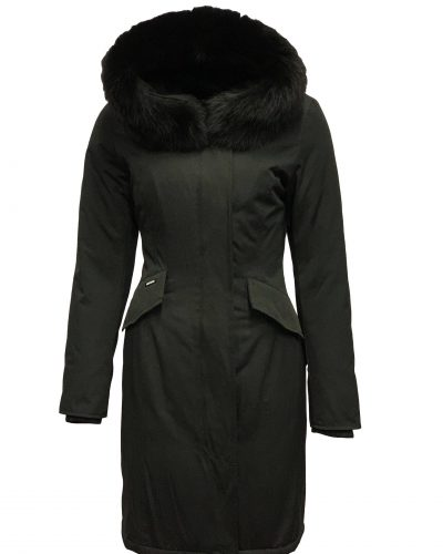 Lang zwart winter dames parka met afneembaar bontkraag en capuchon-valencia bestellen