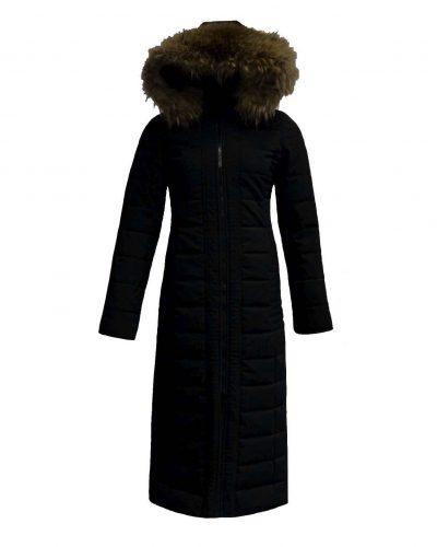 Lange gewatteerde winterjas voor dames met bontkraag  zwart-Moskow bestellen