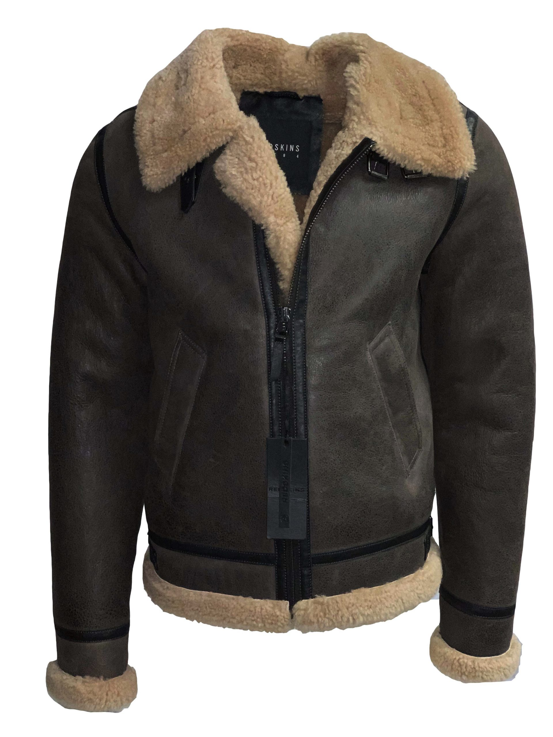 Redskins echte lammy coat heren zwart – BK Leder