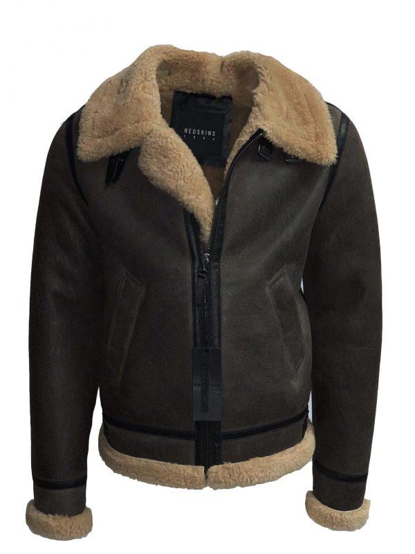 Redskins heren lammy coat bruin van echt lamsvacht bestellen