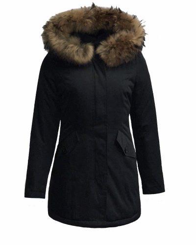 Dames Winterjas – Zwart Canada – Met echte bontkraag bestellen