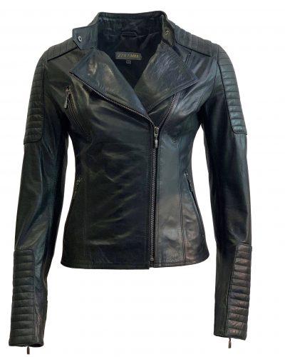 Leren jas dames biker zwart-havana bestellen