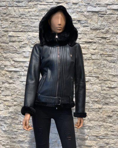 Zwart leren luxury lammy coat dames bestellen
