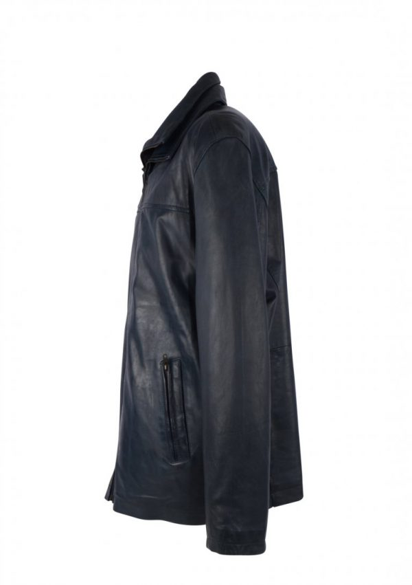 Blauwe leren Heren jas met Dubbele kraag – Superior Blue zijkant