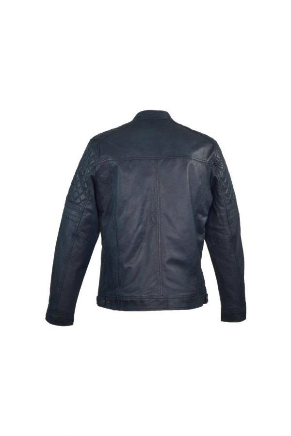 Blauwe leren jas heren bikerjack Superior Blue achterkantkant