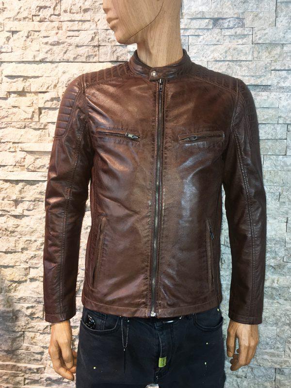 AIM Antrio 4051 Bruin leren heren jas op model