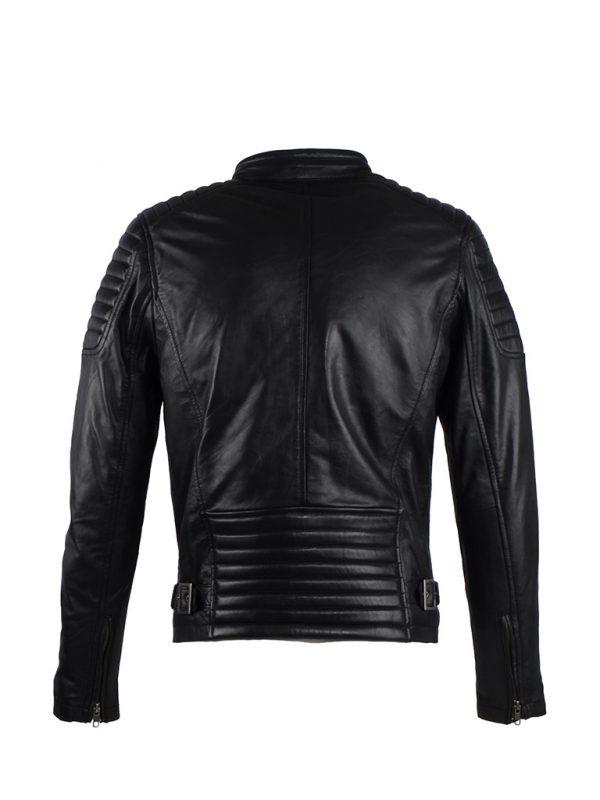 Achterkant van AIM Antrio 4051 heren leren jas zwart