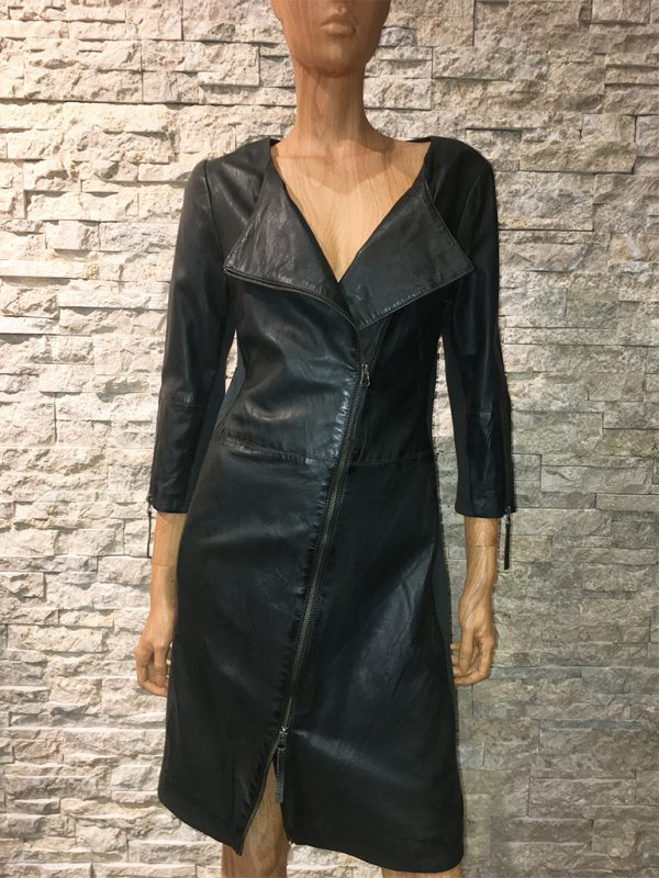 AIM zwarte leren dames jurk
