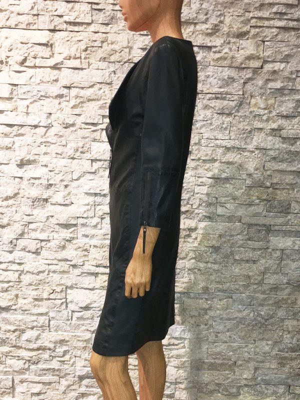 AIM zwarte leren dames jurk zijkant