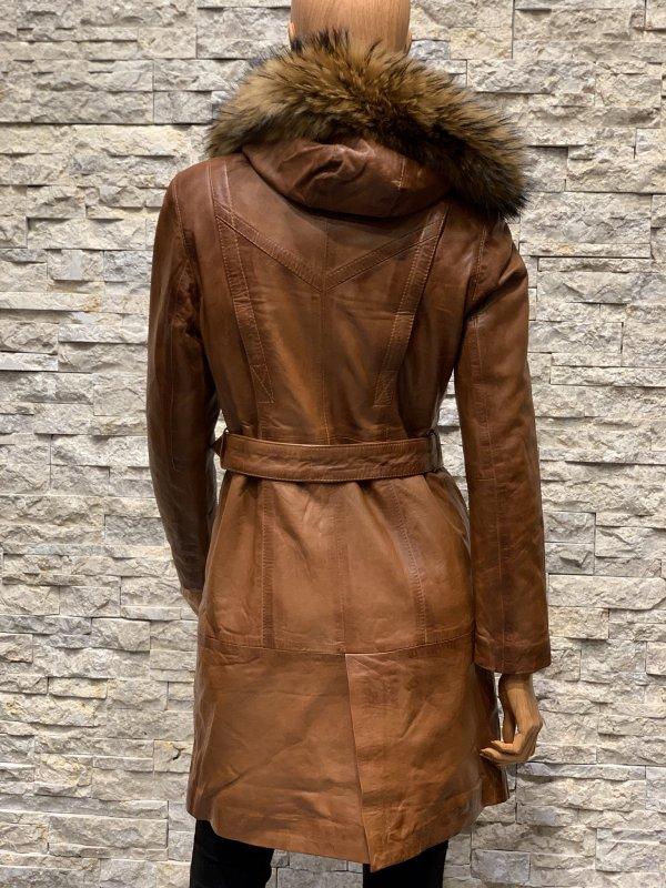 Leren parka gewatteerde jas dames met afneembaar capuchon en bontkraag winter  lila bestellen
