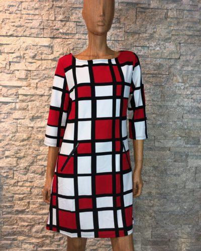 Rood/wit/zwart winter jurk met blokjes print -Leona bestellen
