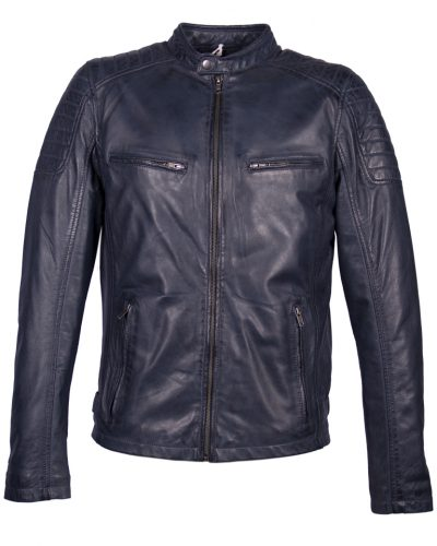Blauw leren heren biker jas AIM 4051