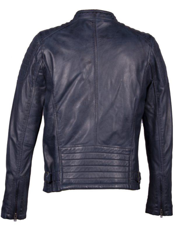 Blauw leren heren biker jas AIM 4051 achterkant