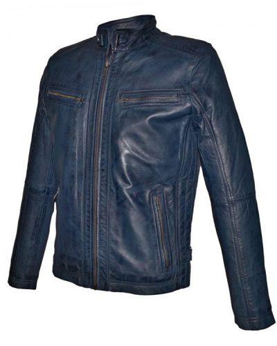 Blauwe Leren heren jas - AIM Onterio - 100% echt leer