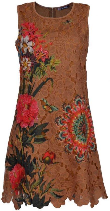 Bruine bloemen zomerjurk voor dames - zonder mouwen