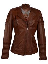 Cognac Leren dames bikerjack - 100% echt leer
