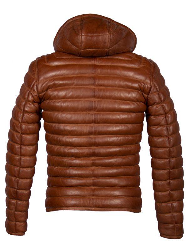 Cognac bruine winterjas heren met afneembare capuchon achterkant
