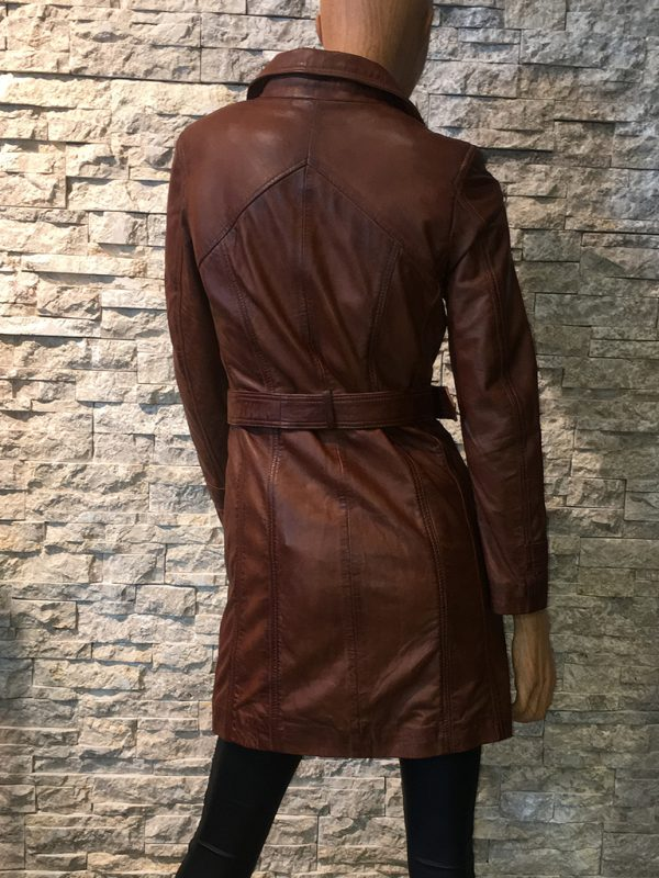 Dames leren parka trenchcoat jas met riem achterkant