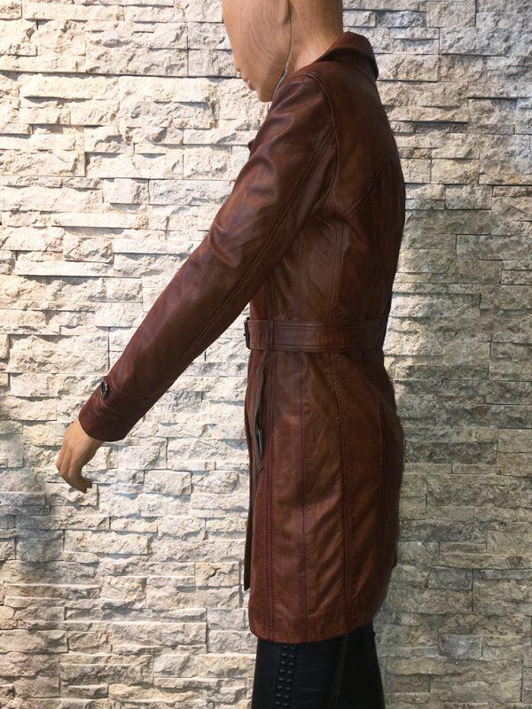 Dames leren parka trenchcoat jas met riem zijkant