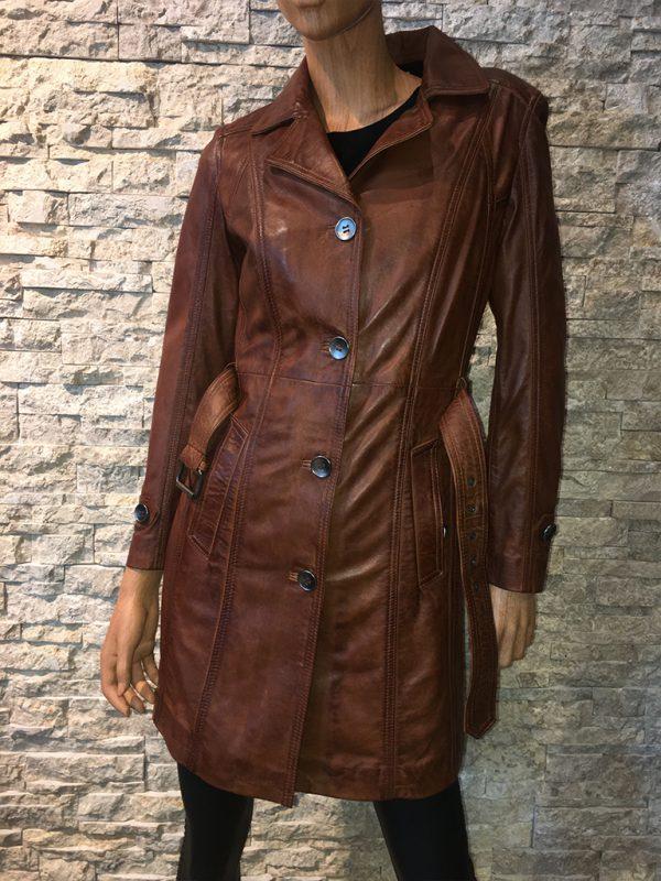 Dames leren parka trenchcoat jas met riem detail