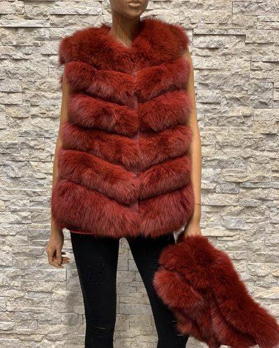 Dames bont vest vossenbont Rood