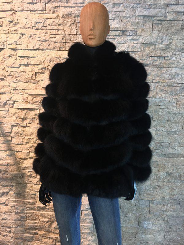 Dames bontjas zwart met afneembaar capuchon