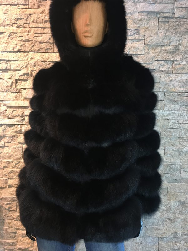 Dames bontjas zwart met afneembaar capuchon voorkant