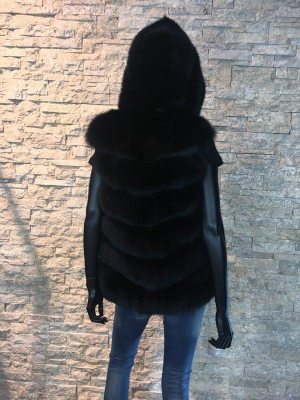 Dames gilet vossen bont (vest zonder mouw) achterkant