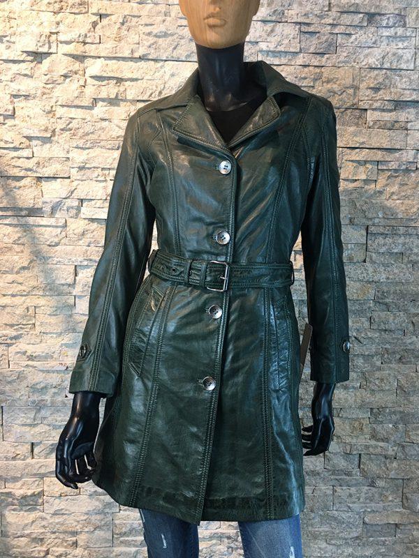 Dames leren jas half lang groen