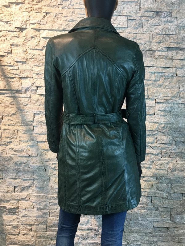 Dames leren jas half lang groen achterkant