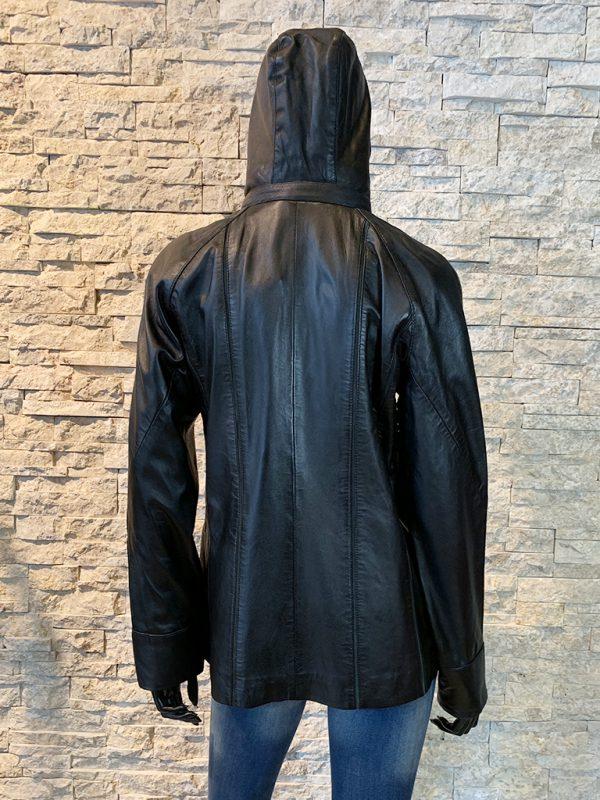 Dames leren parka jas zwart achterkant