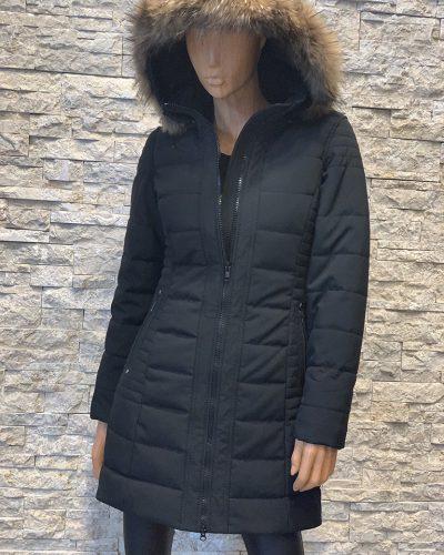 Dames winterjas met bontkraag Lonon zwart