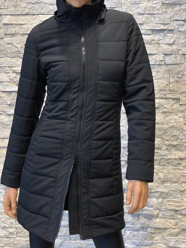 Dames winterjas met bontkraag Lonon zwart voorkant