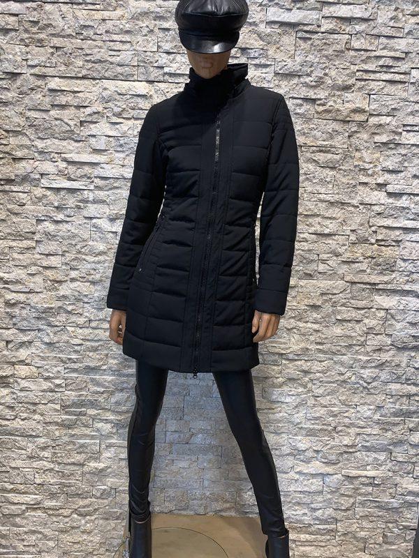 Dames winterjas met bontkraag Lonon zwart op pop