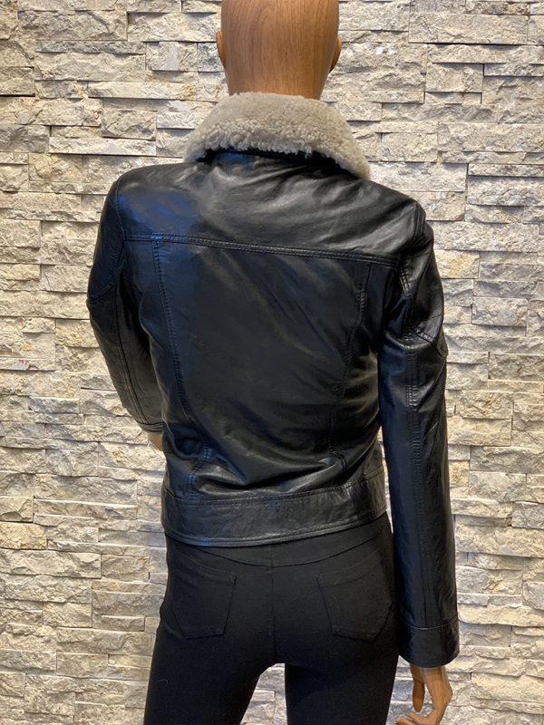 Dames winterjas spijkerjack van echt leer achterkant