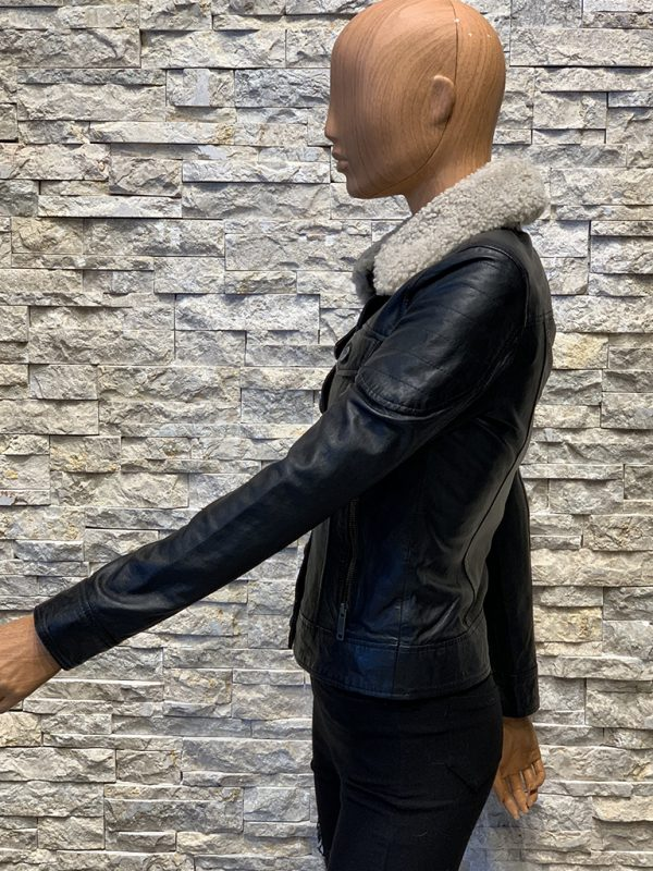 Dames winterjas spijkerjack van echt leer zijkant