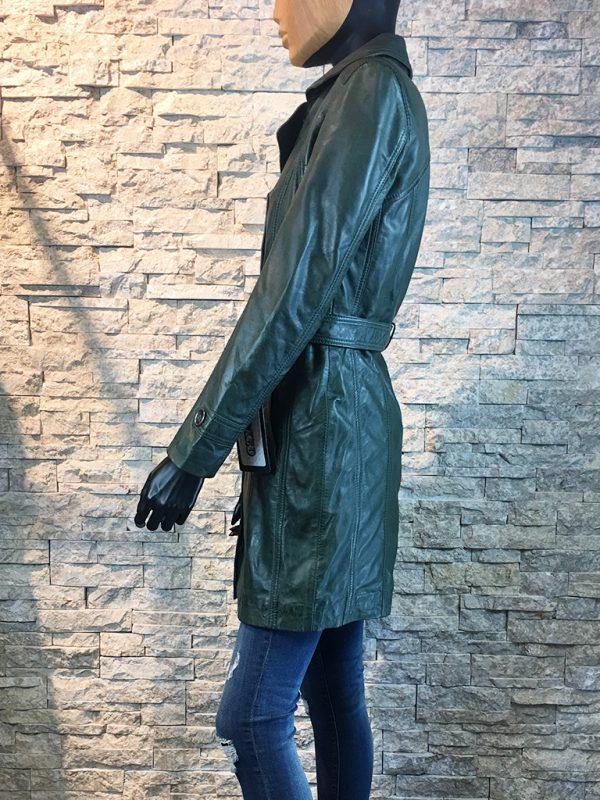 Dames leren jas half lang groen zijkant