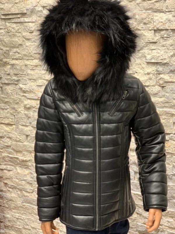Winterjas met bontkraag voor kinderen Donatto voorzijde