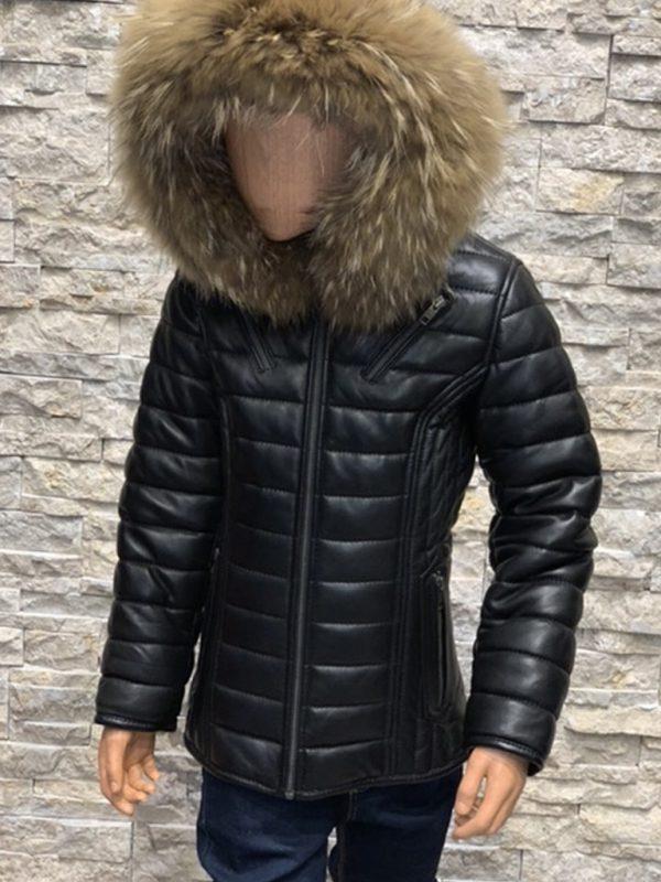 Voorkant Donatto winterjas voor kinderen met bontkraag