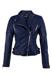 Donker blauwe Bikerjack voor dames - Kunstleer