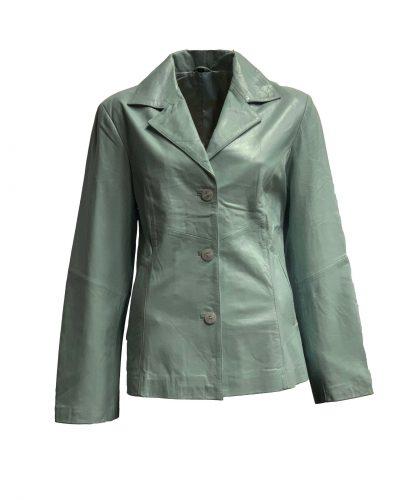 Lichtblauw leren dames jas halflang bestellen