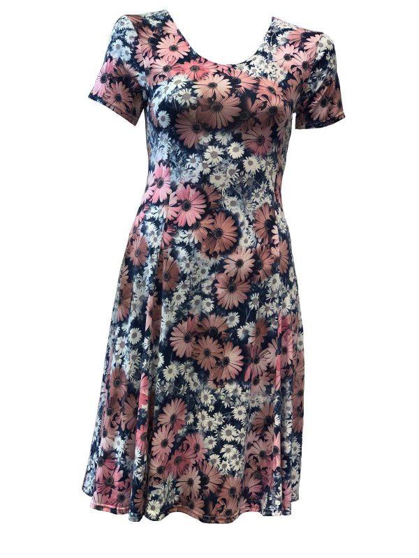 Roze zomerjurk met bloemenmotief- Miranda bestellen
