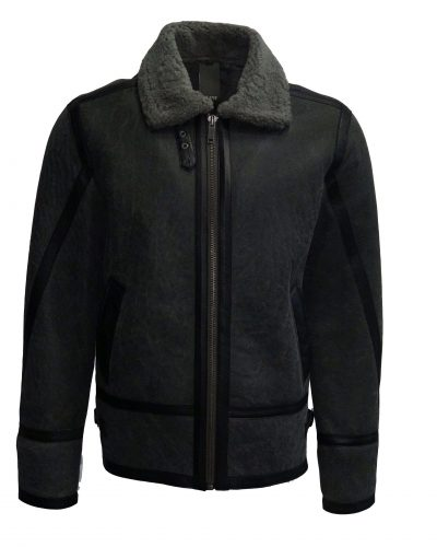 lammy coat heren antraciet grijs 100 procent lams vacht. bestellen