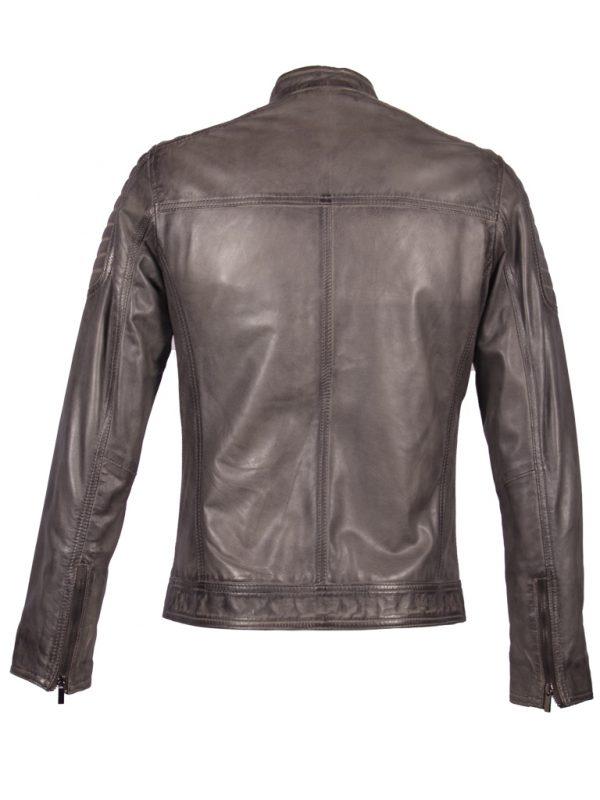 Grijs lamsleren heren biker jas Ryan achterkant