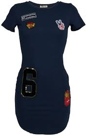 Half lang Navy blauw shirt met patches voor dames