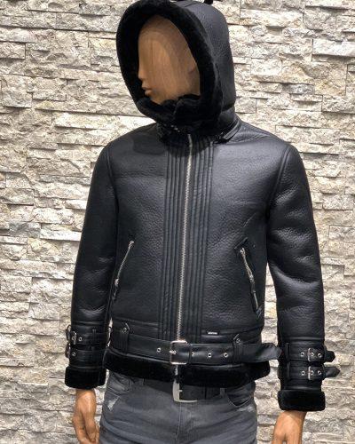 Kunstleren Lammy Coat voor heren zwart