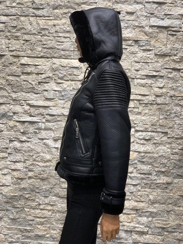 Lammy coat dames zwart met capuchon zijkant