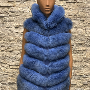 Lang blauw dames bontvest vossenbont 300x300