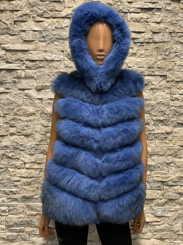 Lang blauw dames bontvest vossenbont