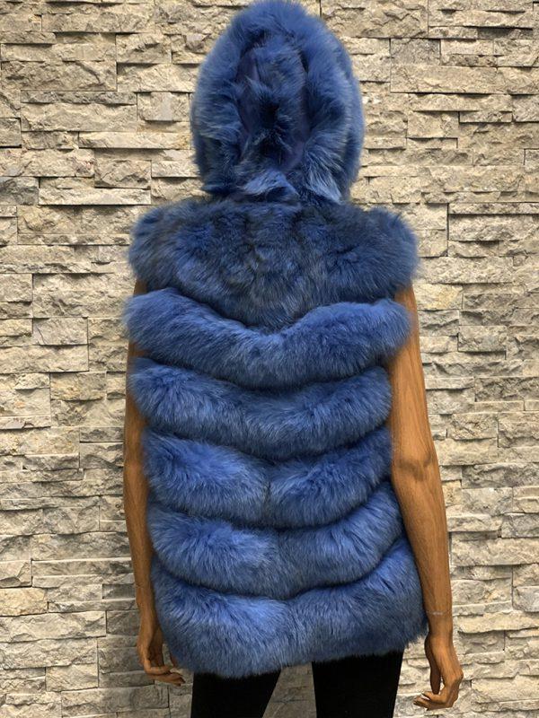 Lang blauw dames bontvest vossenbont achterkant